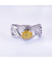 KLENOTA Stříbrný prsten s citrínem a bílými safíry