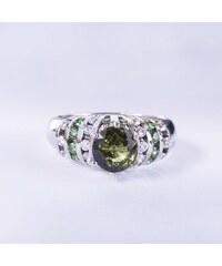 KLENOTA Stříbrný prsten s turmalínem a safíry