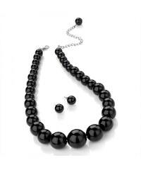 SET: Náhrdelník a náušnice Pearls 28210 černý