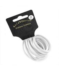 Dámské gumičky do vlasů 28064 bílé - 12 ks