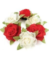 Červená gumička do vlasů Flowers 29146