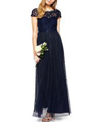 Luxusní dlouhé tmavě modré šaty s krajkovým topem Vila
