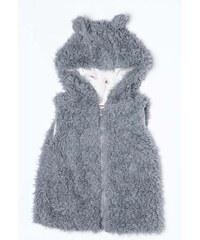 Minoti Dívčí chlupatá vesta Forest 1 - šedá