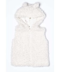 Minoti Dívčí chlupatá vesta Forest 1 - bílá