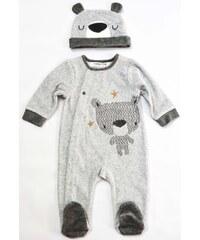 Minoti Chlapecký overal s čepičkou Bear 12 - šedý