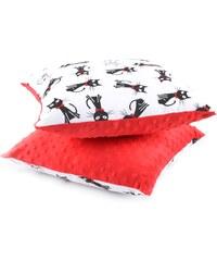My Best Home Dětský polštář Minky Kočky, 40x40 cm - červený
