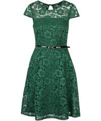 Zelené krajkované šaty s černým páskem Dorothy Perkins