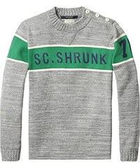 Scotch Shrunk Jungen Pullover Sporty Crew Neck Pull with Button Closure At Shoulder