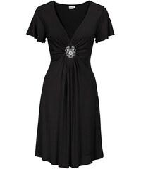 BODYFLIRT Žerzejové šaty s odnímatelnou broží bonprix