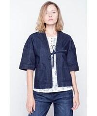 Veste femme kimono jeans broderie Bleu Polyester - Femme Taille L - Bonobo