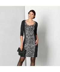 Blancheporte Šaty z úpletu Milano, s potiskem černá/šedá 38