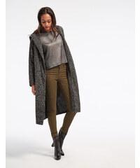 veste longue à capuche noir et blanc chiné Jennyfer