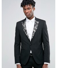 ASOS - Veste de costume super skinny avec revers noirs et dorés - Noir