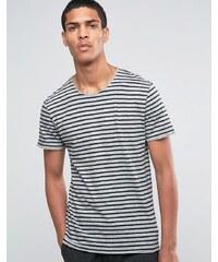 Selected Homme - T-shirt rayé avec bord brut - Gris