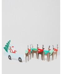 Meri Meri - Carte de Noël avec traîneau du Père Noël accordéon - Multi