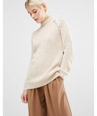 Lost Ink - Hochgeschlossener Pullover mit Schnürung - Beige