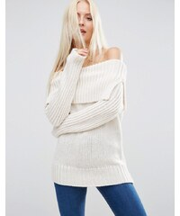ASOS - Schulterfreier Pullover - Cremeweiß