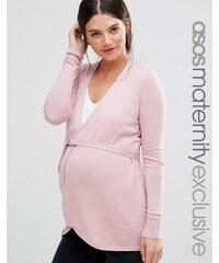 ASOS Maternity - LOUNGE - Strickjacke in Wickeloptik - Rosa