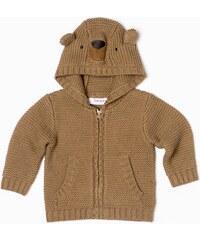 Minoti Dětský svetr s kapucou Bear 13 - hnědý