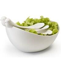Mísa s nástroji QUALY Sparrow Salad Bowl | bílá-bílá