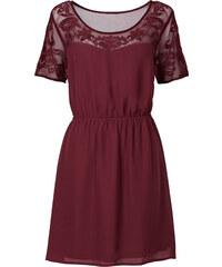 RAINBOW Kleid mit Netz-Einsatz/Sommerkleid kurzer Arm in rot von bonprix