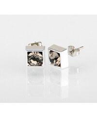 Náušnice čtverec s krystalky 5 mm pecky krystal krystal s kamínkem hranaté NE0876-0313