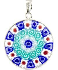 Murano Přívěsek skleněný - stříbro 925 - bílá, modrá - Millefiori 23