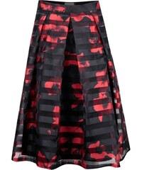 Červeno-černá skládaná sukně s květinovým potiskem Apricot
