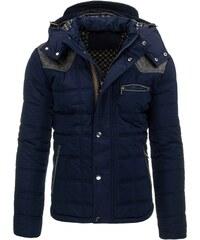 Atraktivní pánská tmavě modrá bunda s odnímatelnou kapucí