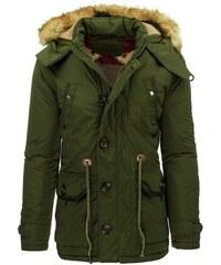 Stylová zelená pánská zimní bunda