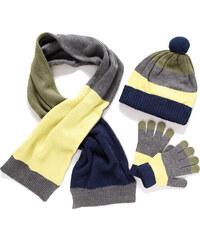 Mayoral SET: čepice,šála,rukavice 'Pruhy' Khaki
