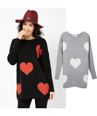 Lesara Pull long tricoté avec coeurs en motif