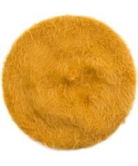 Art of Polo Žlutý angorský baret s dlouhým vlasem