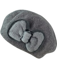 Art of Polo Vlněný baret s krásnou mašlí šedý