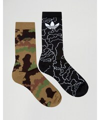 adidas Originals - 2er Pack Socken in Camouflage, AZ0168 - Grün