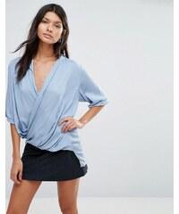 Pixie & Diamond - Blouse à ouverture en V - Bleu