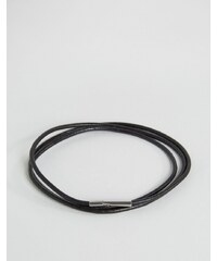 Seven London - Bracelet minimaliste multirang en cuir - Noir - Noir