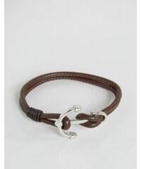 Seven London - Bracelet en cuir avec ancre - Marron - Marron