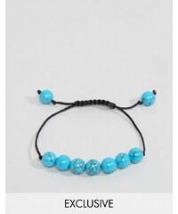 Reclaimed Vintage - Bracelet de perles avec cordelette à nouer - Bleu - Bleu