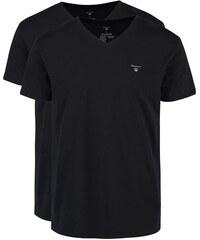 Sada dvou černých triček s véčkovým výstřihem GANT