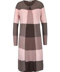Růžovo-hnědý pruhovaný dlouhý cardigan Lavand