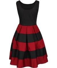 Červeno-černé šaty s pruhovanou sukní Dolly & Dotty Anna