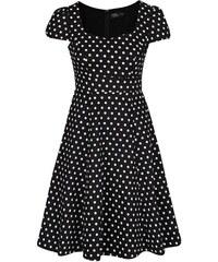Černé puntíkované šaty s krátkými rukávy Dolly & Dotty Claudia