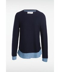 Pull femme superposé Bleu Coton - Femme Taille L - Bonobo