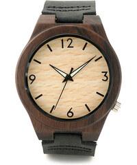 Real_Leather Leder-Armbanduhr mit Holzgehäuse