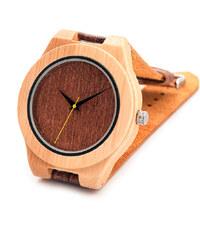 Real_Leather Holzarmbanduhr mit strukturiertem Lederband