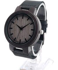 Real_Leather Dunkle Leder-Armbanduhr mit Holzgehäuse