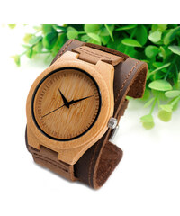 Real_Leather Montre en bois avec large bracelet