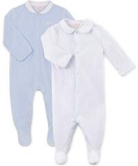 Pyjama long brodé bleu ciel