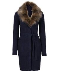 BODYFLIRT Veste en maille avec col en imitation fourrure amovible bleu manches longues femme - bonprix